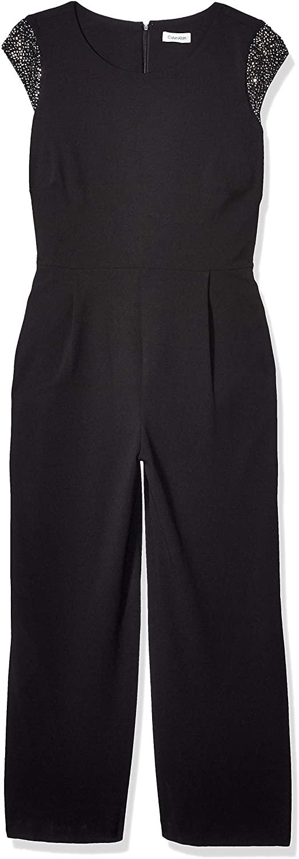 Calvin Klein Womens Plus Size Cap Sleeve Jumpsuit