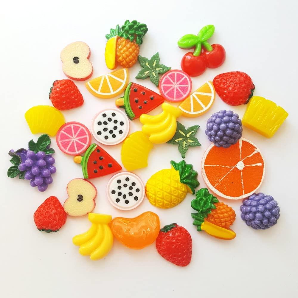 30 pcs Fruits Cabochon Mix Assorted Resin Kawaii Miniature Sweets