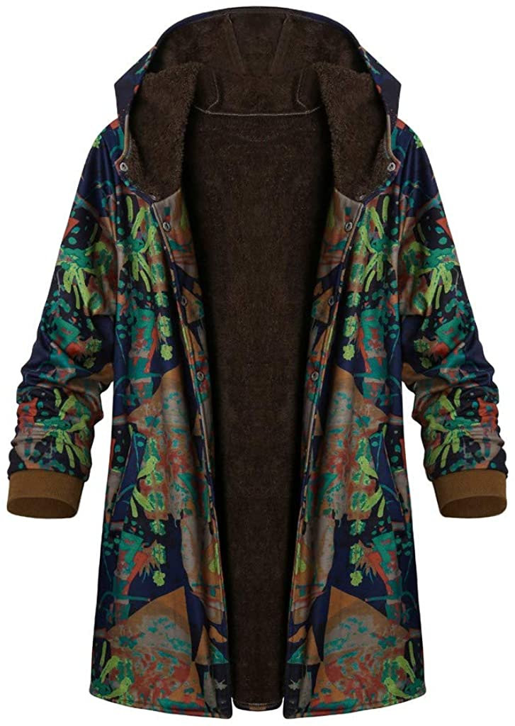 Stlylish Top Blouse,Womens Winter Warm Outwear Floral Print Hooded Pockets Vintage Oversize