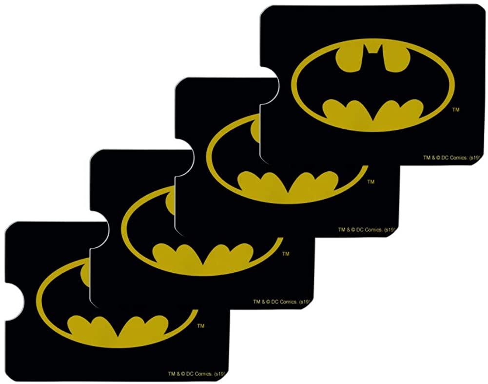 Batman Classic Bat Shield Logo Credit Card RFID Blocker Holder Protector Wallet Purse Sleeves Set of 4