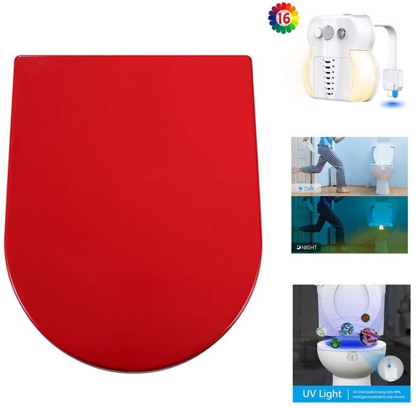 Toilet Seats Soft Close Mute Toilet Seat U Shaped White Toilet Lid Gift Smart Sensor Toilet Light (Color : Red, Size : S)