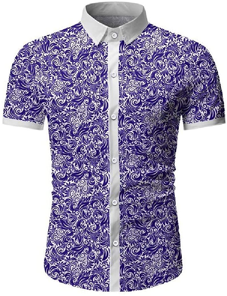 Coolred Mens Stylish Contrast Color Printing Short Sleeve Button-up Dress Shirt