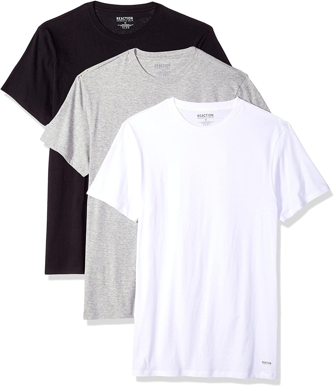 Kenneth Cole Reaction Men's 100% Cotton Classic Fit Crewneck T-Shirt Tee, 3 Pack
