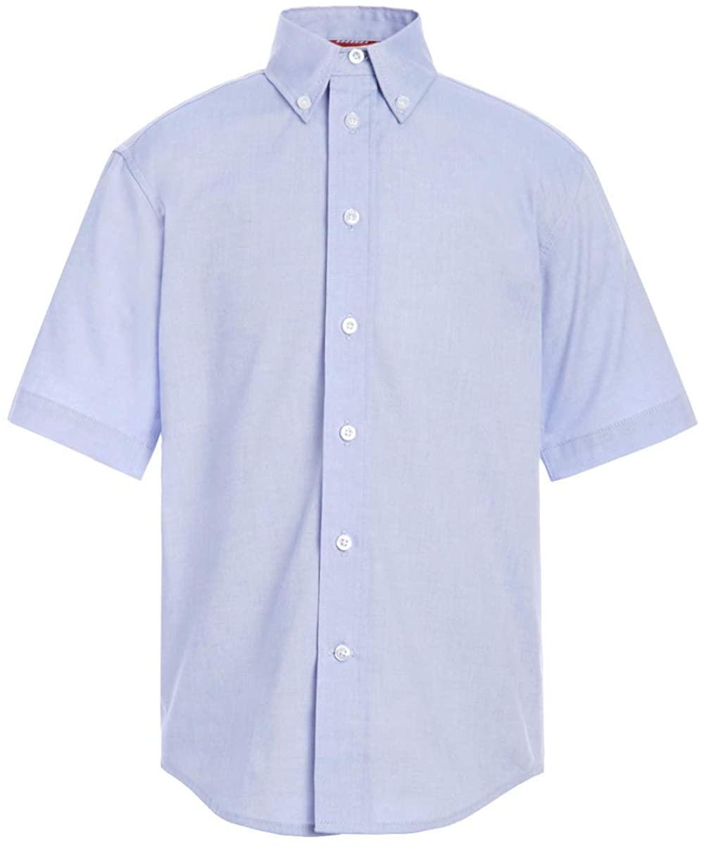 Tommy Hilfiger Short Sleeve Pinpoint Boys Oxford Collar Shirt, Kids School Uniform Clothes