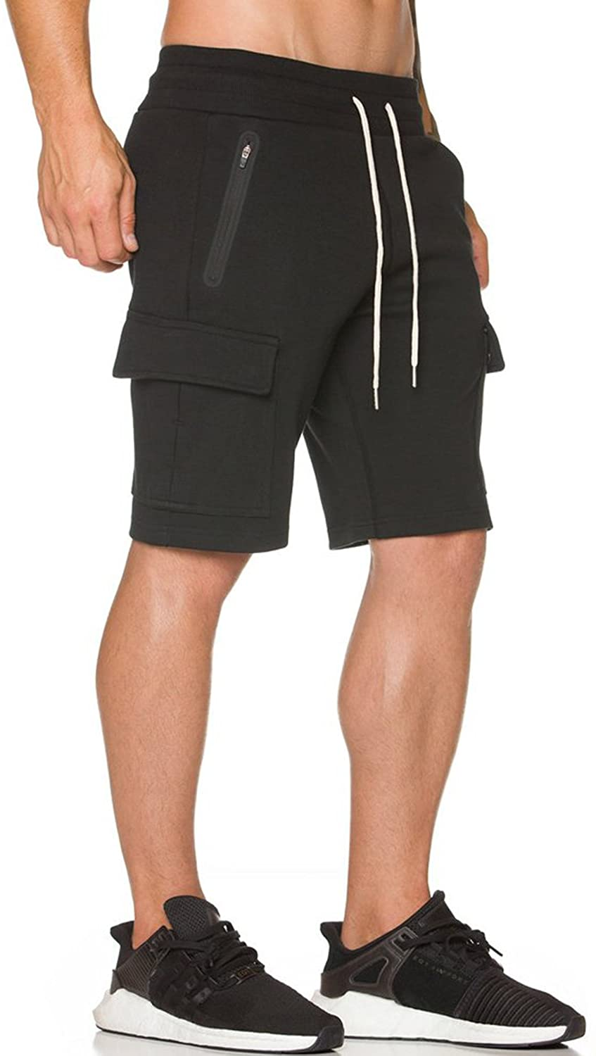 Ouber Men's Fitted Cargo Shorts Casual Workout with Zipper Pockets