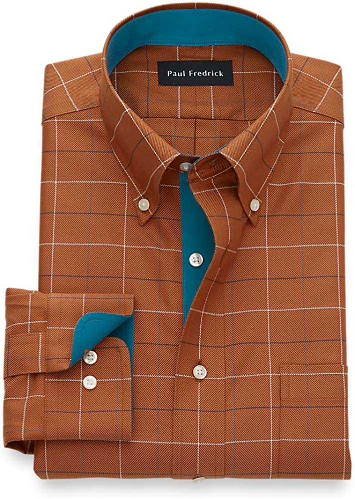 Paul Fredrick Men's Non Iron Two Ply Cotton Windowpane, Button Down Collar, Butt