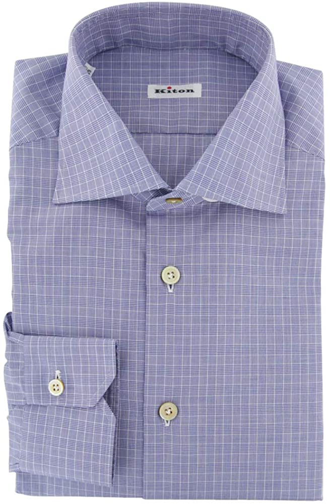 Kiton Plaid Blue Wide Spread Collar Cotton Button Down Dress Shirt