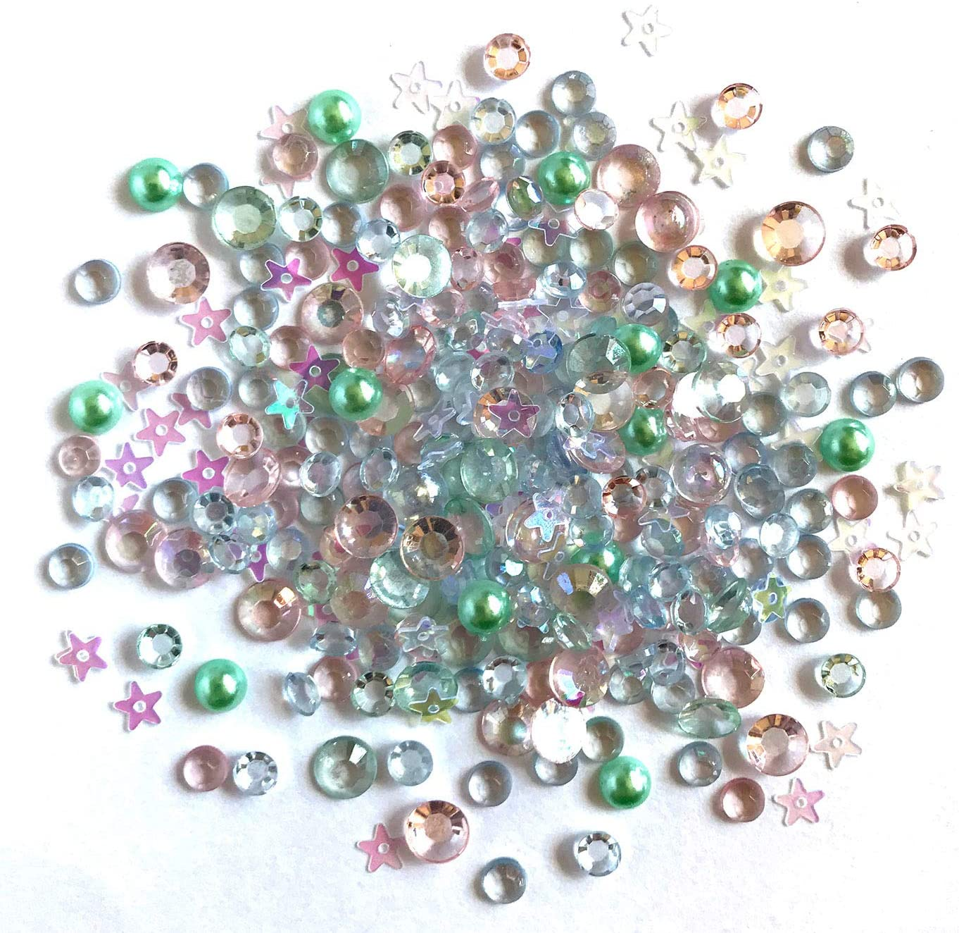 Buttons Galore Sparkling Gemstone Craft Embellishments 500 Pc - All is Calm - Set of 3 Packs