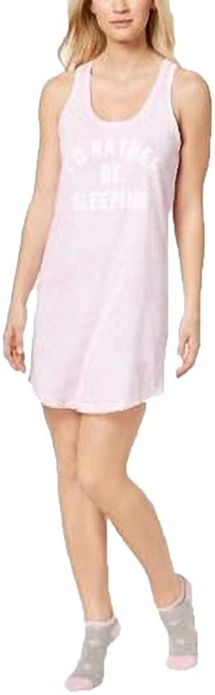 Jenni by Jennifer Moore Women's Screen-Print Keyhole Sleepshirt with Socks, Pink Tiedye