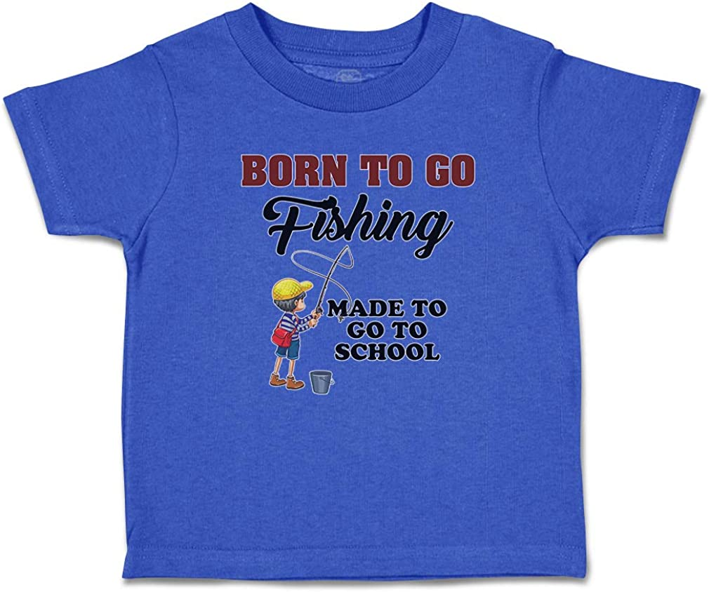 Custom Toddler T-Shirt Born to Go Fishing Made School Boy with Net Hat and Bag