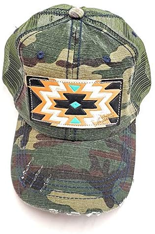 McIntire Saddlery Camo Ponytail Cap with Aztec Hand Tooled Hand Painted Leather Patch