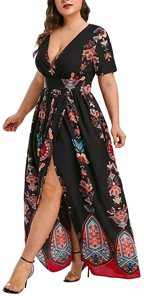 Chanyuhui Maxi Dresses for Women Casual Summer Plus Size Butterfly Print Long Dress Wrap V-Neck Short Sleeve Long Dress