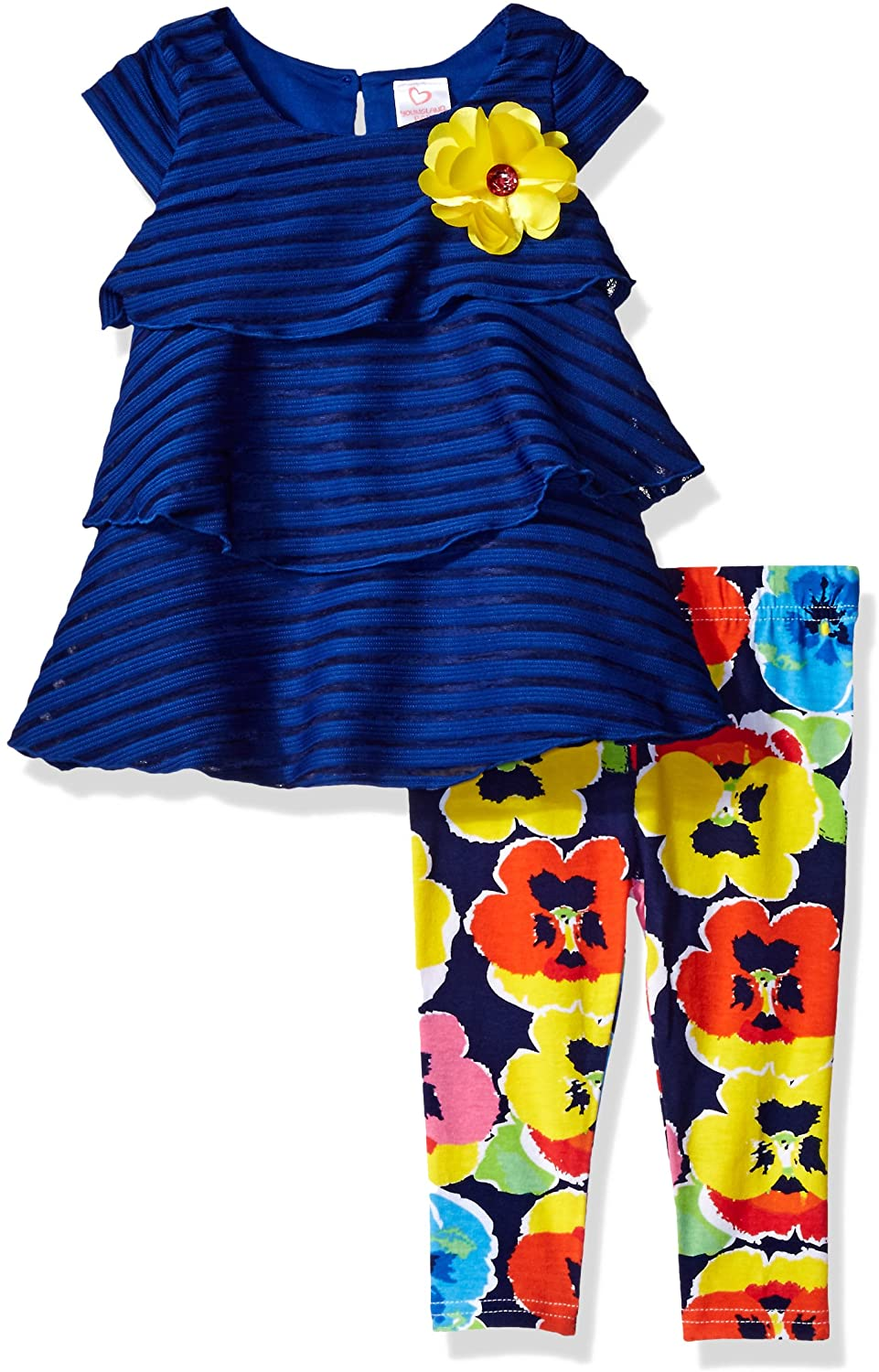 Youngland Baby Girls Tiered Texture Knit Dress & Knit Legging, Blue, 12M