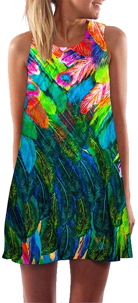 iYBUA Women's Summer Vintage Boho Loose Summer Sleeveless 3D Floral Print A-Line Mini Dress