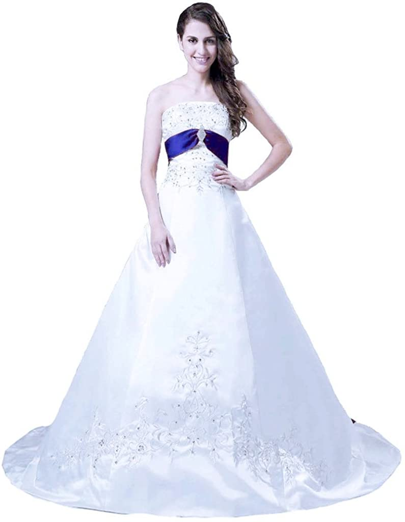 Snowskite Women's Strapless A-line Satin Embroidery Beaded Wedding Bridal Dress