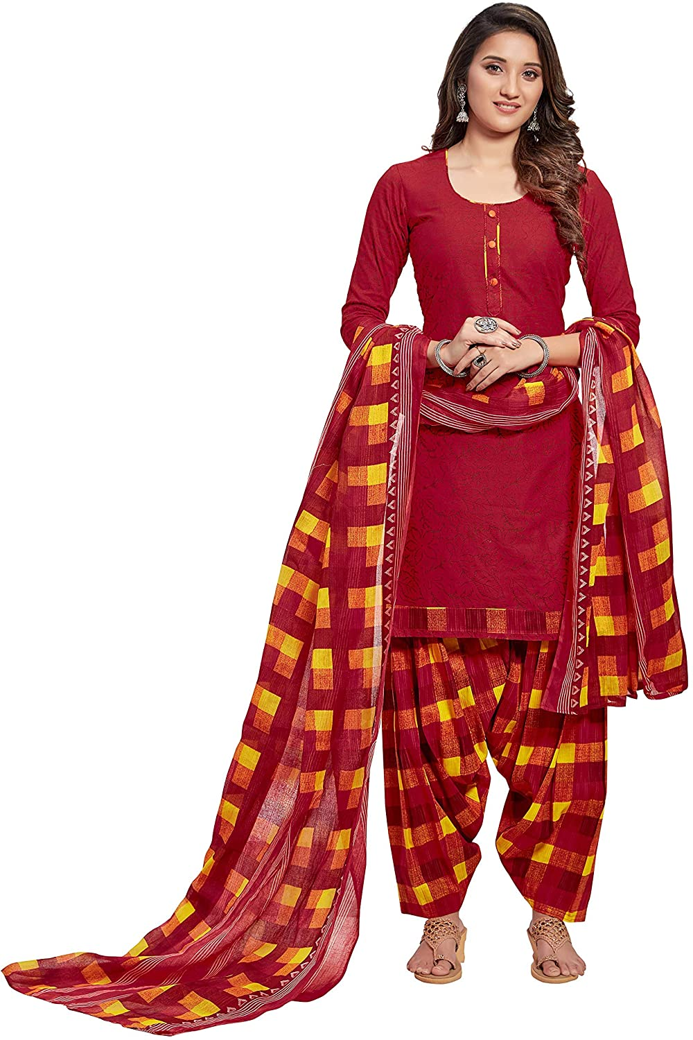 Indian Decor & Attire Women's Cotton Unstitched Dress Material (BAND6008, Maroon, Free Size)