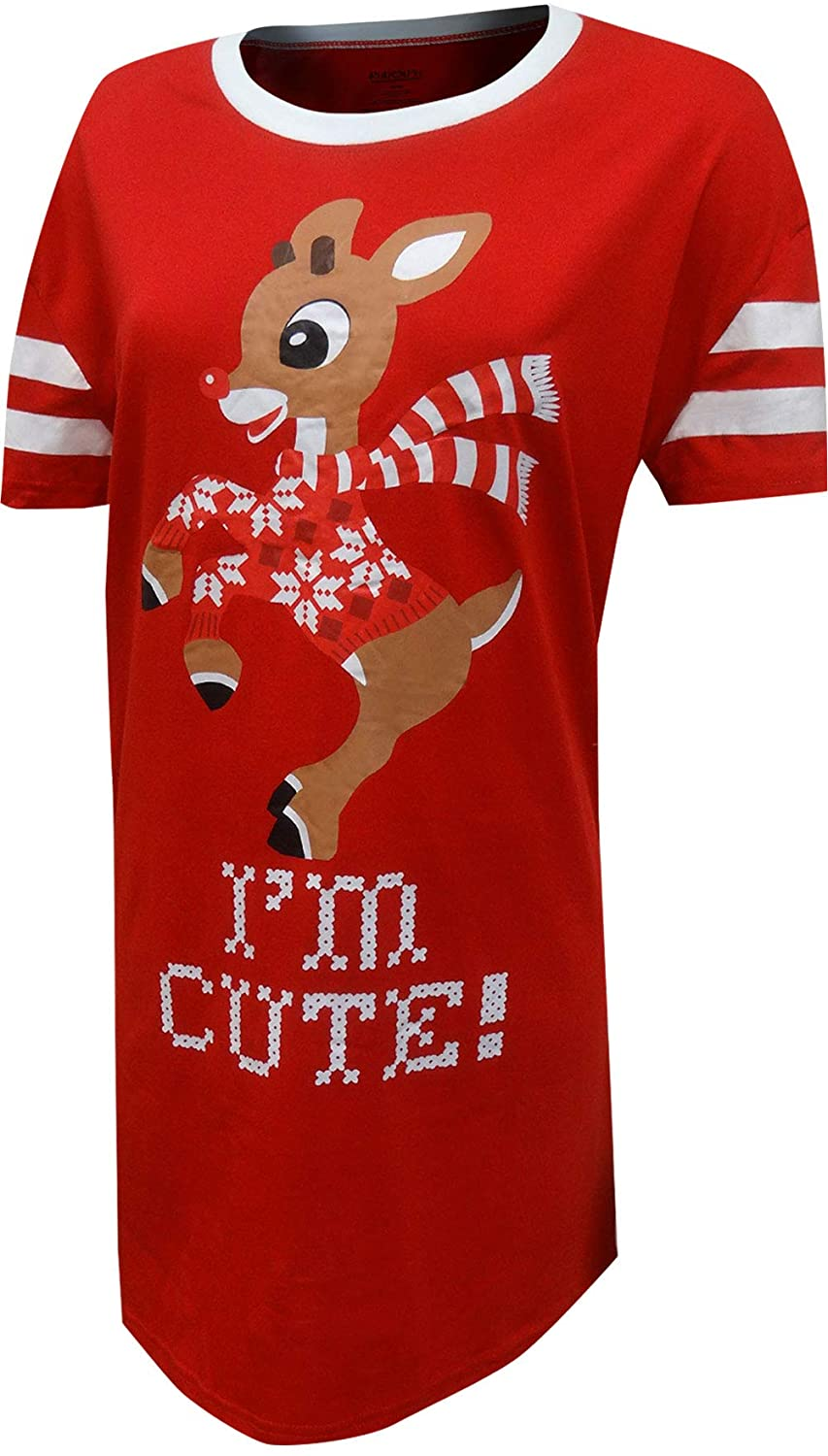 MJC Women's Rudolph The Red-Nosed Reindeer I'm Cute Plus Size Nightshirt