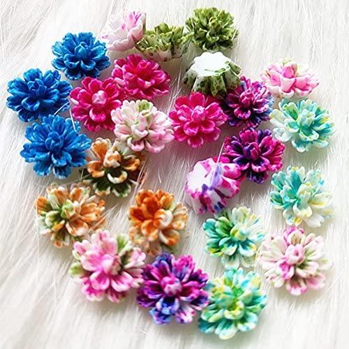 350PCS Resin Flowers Layered Daisy Flower Flatback Cabochon Scrapbooking DIY Phone Decoration (12mm, 7colors)
