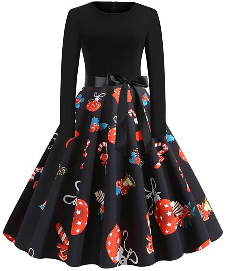 HTHJSCO Women's Christmas Vintage1950S Flare Dress A-Line Print Long Sleeve Costume Evening Party Stitching Bow Dress