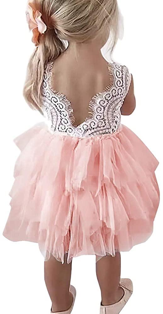 Toddler Girls Tutu Dress Lace top Backless A-line Tulle Flower Girl Dress