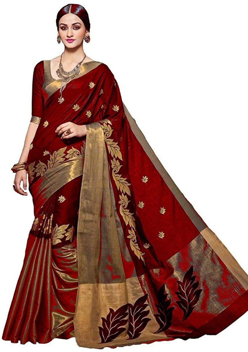 Red Cotton Zari Weaved Saree Unstitched Blouse