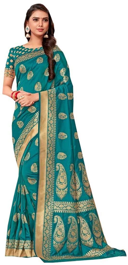 Blue Eid Uljha Party Festival Soft Pure Banarasi Silk Indian Saree Sari Blouse Muslim Dress 9892B