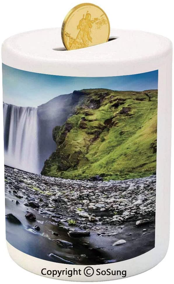 SoSung Waterfall Ceramic Piggy Bank,Skogafoss Waterfall in Iceland Rocky River and Highlands in Evening 3D Printed Ceramic Coin Bank Money Box for Kids & Adults,Blue Green Dark Brown