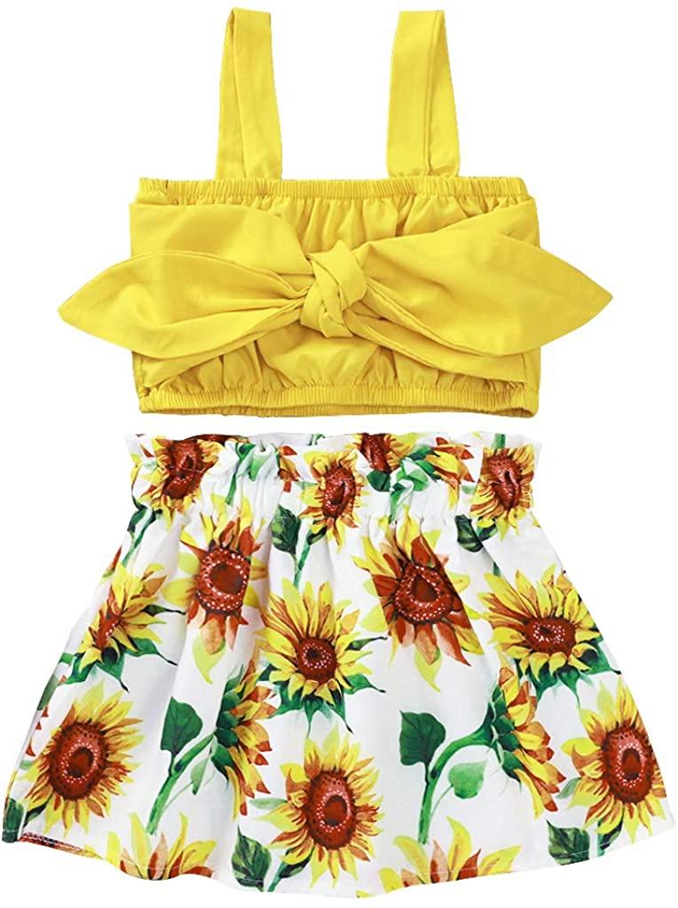 Toddler Baby Girl Summer Halter Ruffle Clothes Set Tops+Sunflower Ruffle Flower Pattern Skirt Outfits