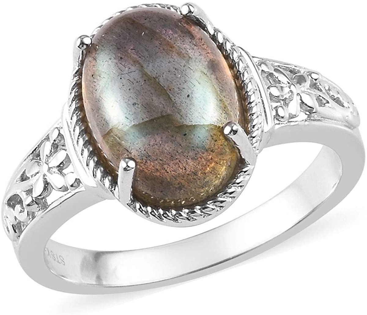 Shop LC Delivering Joy Karis Platinum Plated Oval Labradorite Solitaire Ring Costume Unique Fashion Jewelry for Women Size 7