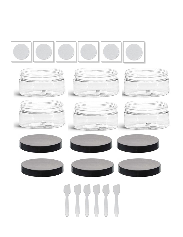 Bulk Clear Plastic Low Profile Jars (25)