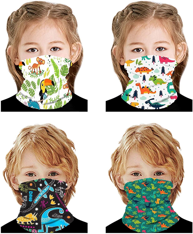 VANGETIMI 4 Pack Kids Face Mask Mouth Cover Bandanas Neck Gaiter Headband Dust Block Balaclavas UV Sun Protection Scarf