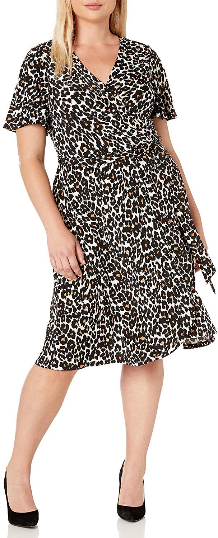 Donna Morgan Women's Plus Size Matte Jersey Floral Printed Faux Wrap Dress