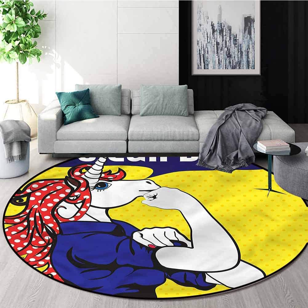 RUGSMAT Unicorn Area Rugs Ring 3D Non-Slip Rug,Unicorn with Polka Dot Lifts Basket Swivel Chair Pad Coffee Table Rug Diameter-39