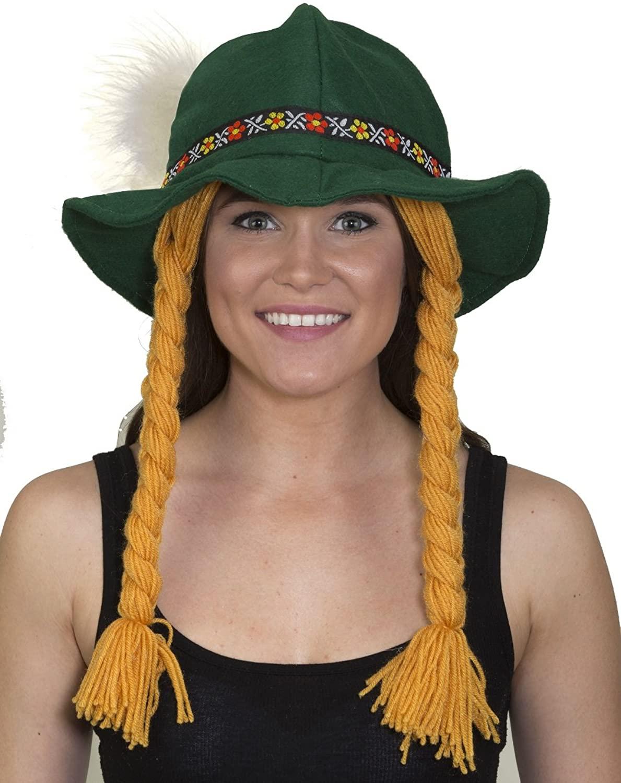 Costume Accessory - Soft Felt Alpine Hat w/ Braids and Feather
