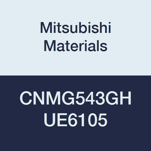 Mitsubishi Materials CNMG543GH UE6105 Carbide CN Type Negative Turning Insert with Hole, CVD Coated, Rhombic 80°, 0.625