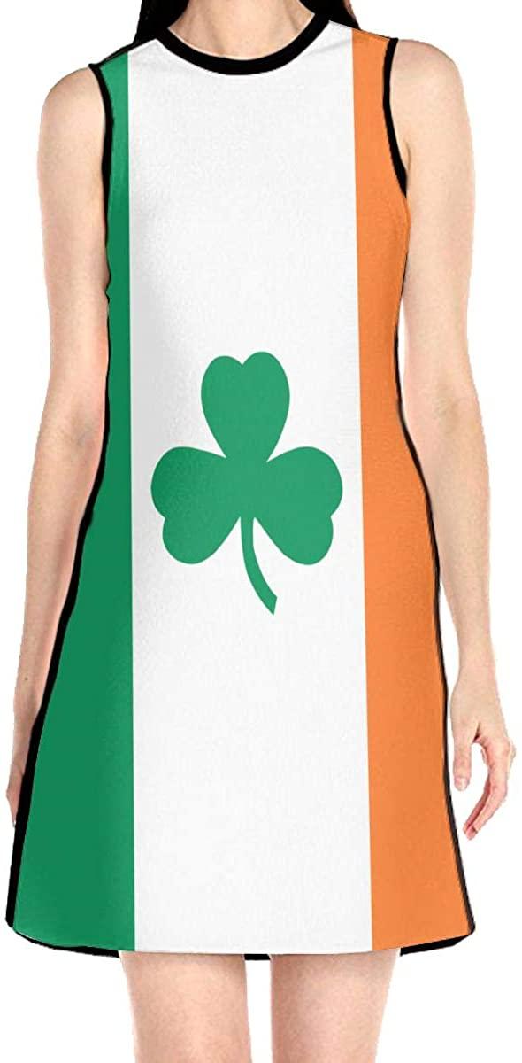 Irish Flag Shamrock Women's Sleeveless Dress Casual Slim A-Line Dress Tank Dresses