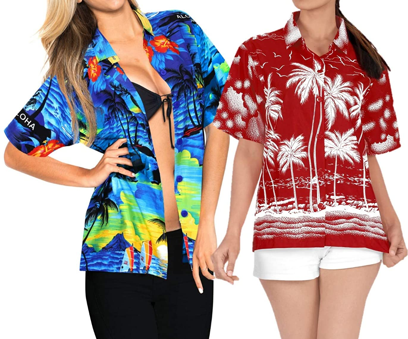 LA LEELA Women's Casual Button Down Beach Aloha Hawaiian Blouse Shirt Work from Home Clothes Women Beach Shirt Blouse Shirt Combo Pack of 2 Size S
