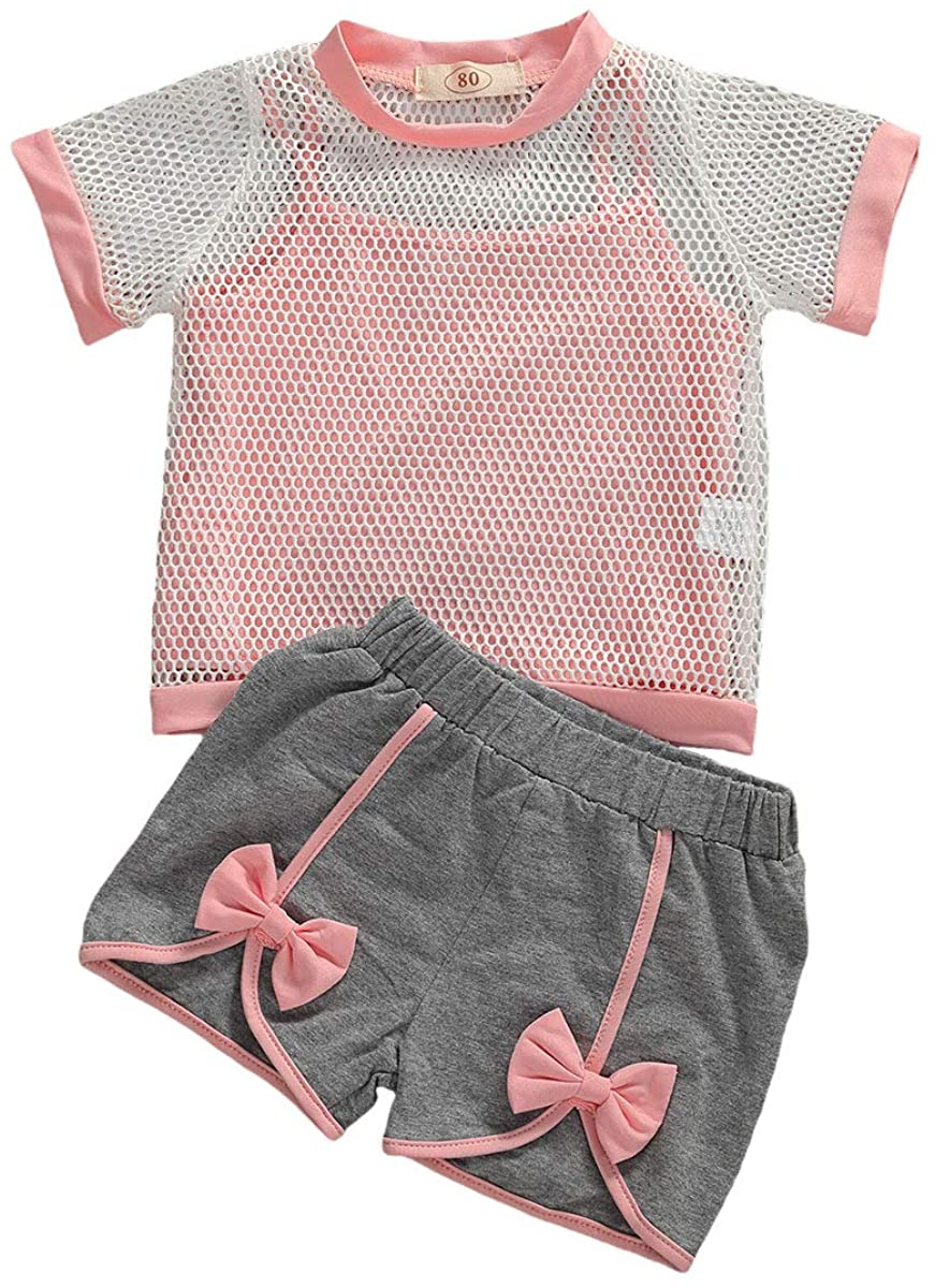 Toddler Baby Girls Summer Clothes Short Sleeve Outfits Mesh T-Shirt Tops & Short Sets Sportswear