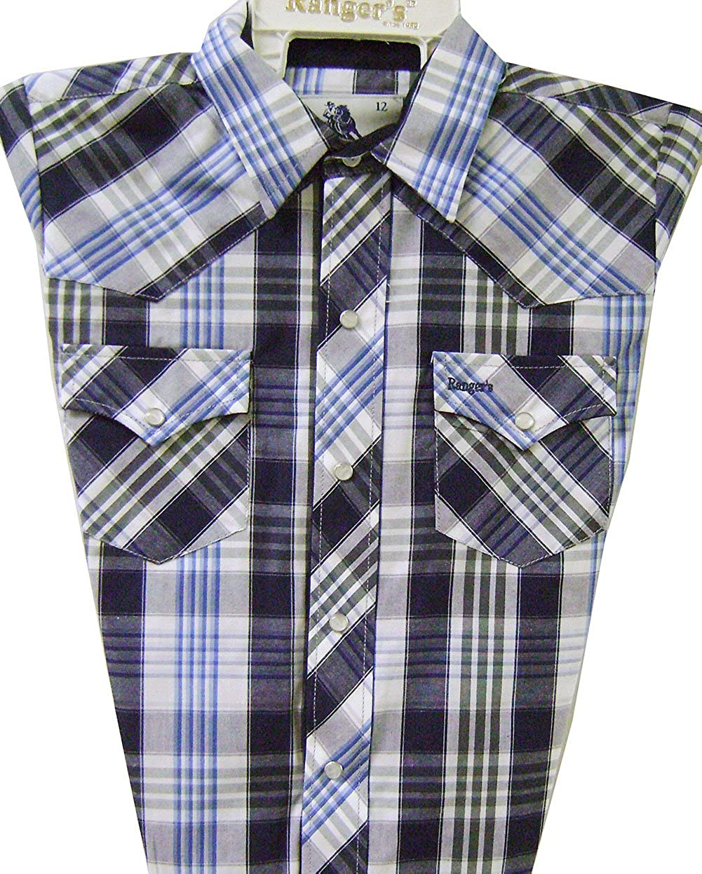 Modestone Boy`s Checked Long Sleeve Fitted Western Shirt Blue