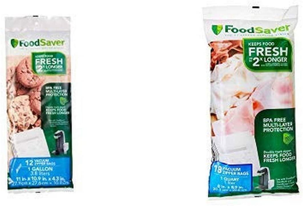 FoodSaver 18 Quart-sized Vacuum Zipper Bags and 12 Gallon-sized Vacuum Zipper Bags Bundle