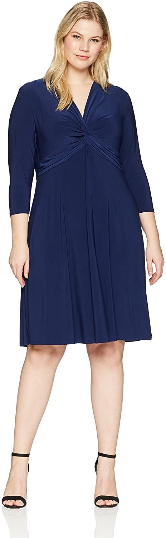 Anne Klein Women's Size Plus Twist Front 3/4 Sleeve Dress