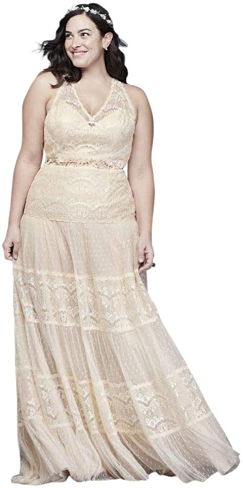 Lace and Point D Esprit Plus Size Wedding Dress Style 9WG3956