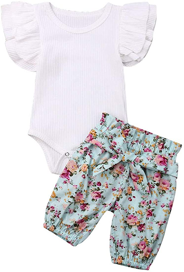 3PCS Clothes Set Newborn Toddler Baby Girl Romper Bodysuit Jumpsuit Floral Halen Shorts Outfit