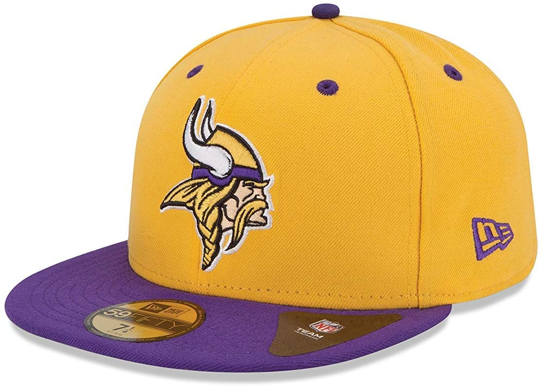 10922824 Men's Vikings Basic 2-Tone 59Fifty Fitted Cap Hat Gold/Purple