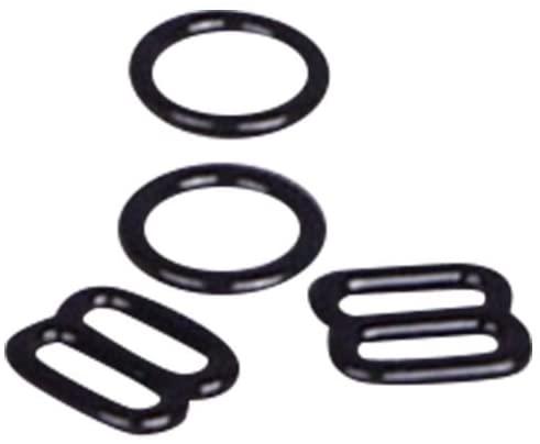 Porcelynne Black Nylon Coated Metal Replacement Bra Strap Slide and Ring Set - 1/4