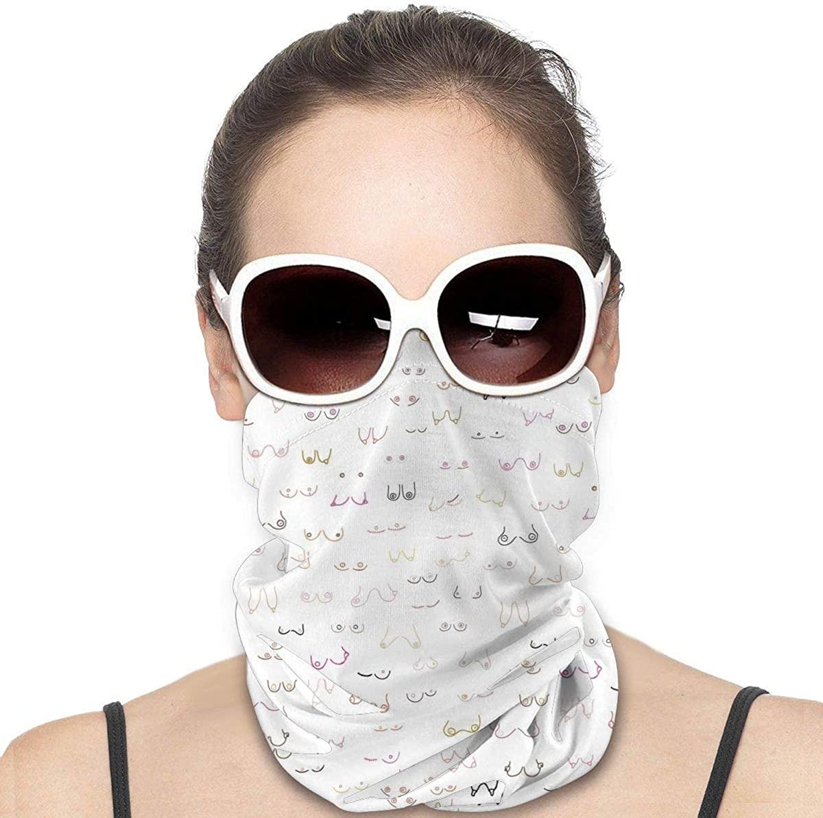 Tidyki Neck Gaiters for Men - All Boobs are Beautiful Face Shields for Men Bandana Face Mask Face Shield Head Bands Neck Warmer Men Headband Face Mask Bandana