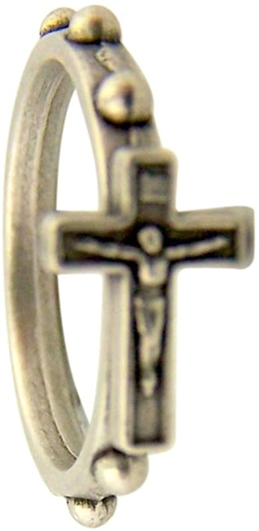 Religious Gifts Silver Tone Cross Crucifix One Decade Finger Rosary Ring, Medium