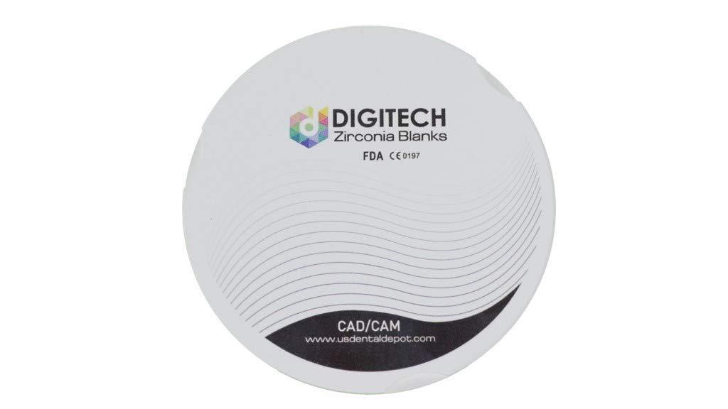 DIGITECH - HS Dental Zirconia Block 98.5mm (98mm) x 10mm - 1 Block per Box - [ Discs pucs Blanks Block bloques ] 101972