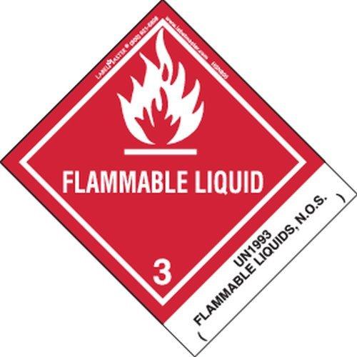 Labelmaster HSN8000 Flammable Liquid Label, UN1993 Flammable Liquid N.O.S, Paper, Hazmat, 4.75