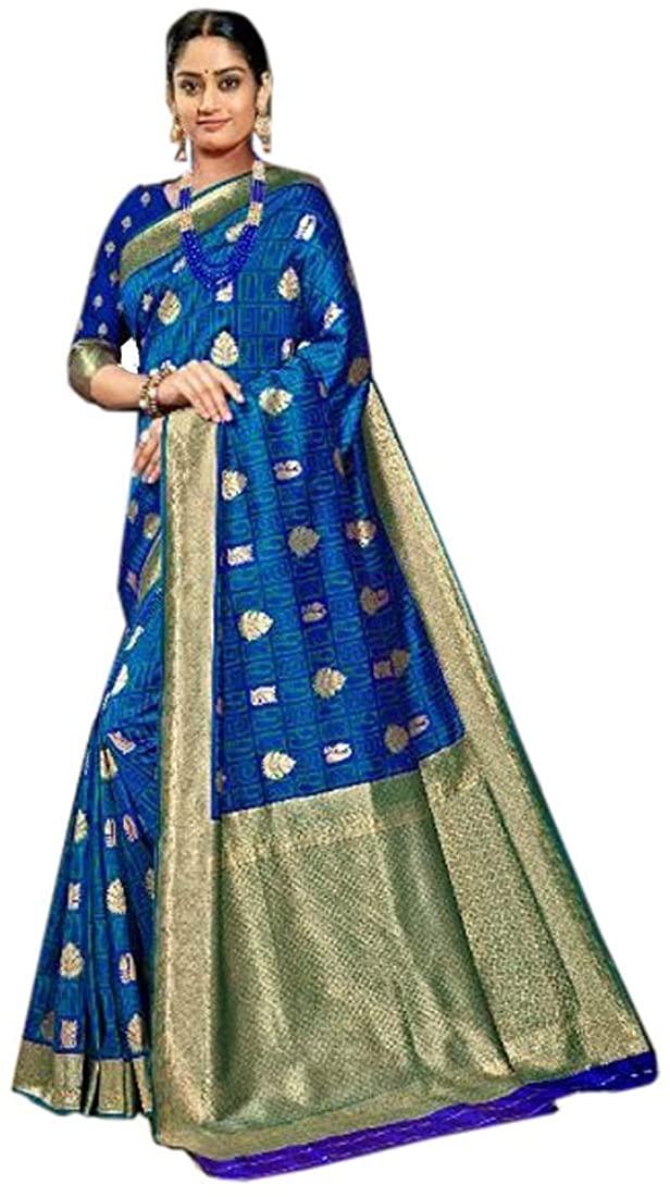 Royal Blue Wedding Party Soft Pure Banarasi Silk Indian Saree Sari Blouse Muslim Dress 9891B